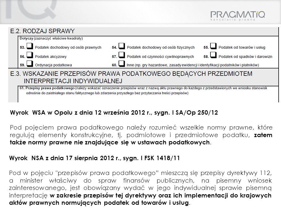 Wyrok WSA w Opolu z dnia 12 września 2012 r., sygn. I SA/Op 250/12
