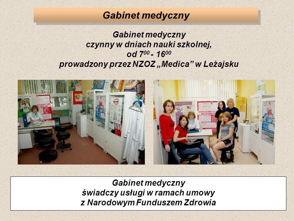 """Gabinet medyczny Gabinet medyczny czynny w dniach nauki szkolnej, od 700 - 1600 prowadzony przez NZOZ """"Medica w Leżajsku."""