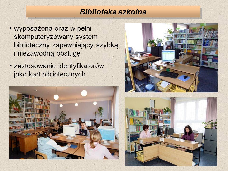 Biblioteka szkolna wyposażona oraz w pełni skomputeryzowany system biblioteczny zapewniający szybką i niezawodną obsługę.