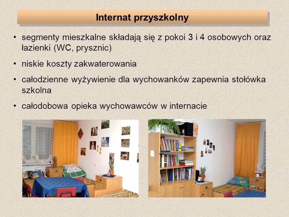 Internat przyszkolny segmenty mieszkalne składają się z pokoi 3 i 4 osobowych oraz łazienki (WC, prysznic)