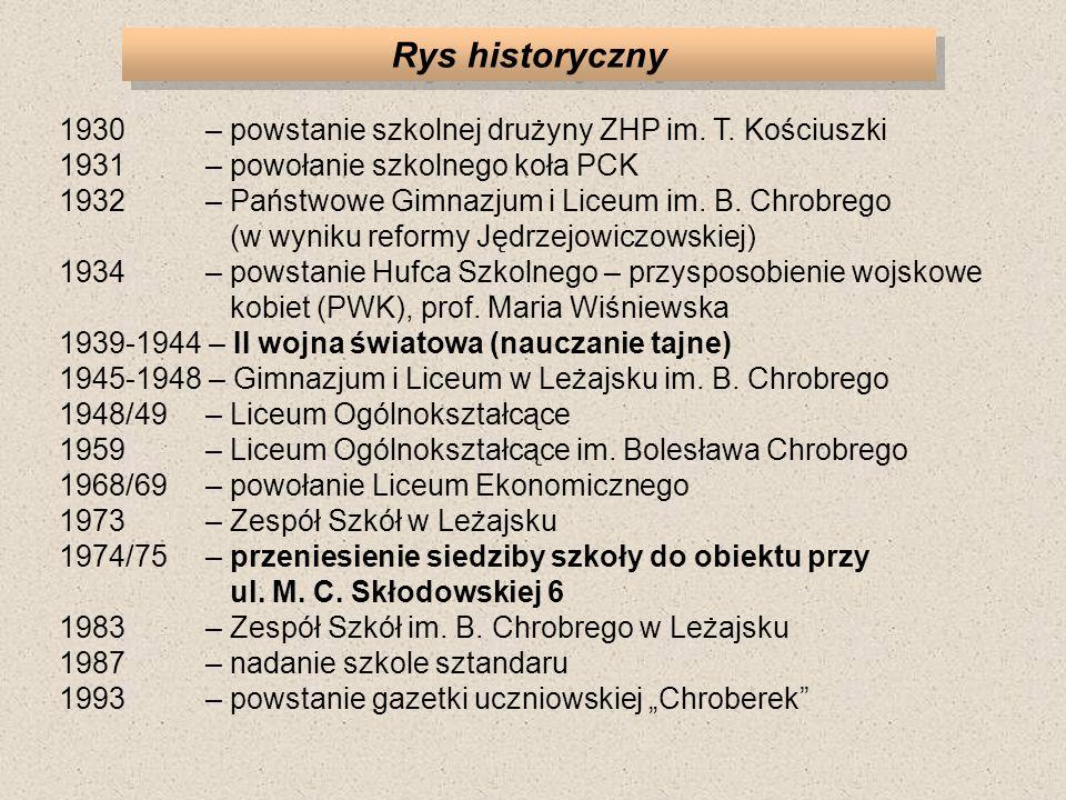 Rys historyczny 1930 – powstanie szkolnej drużyny ZHP im. T. Kościuszki. 1931 – powołanie szkolnego koła PCK.