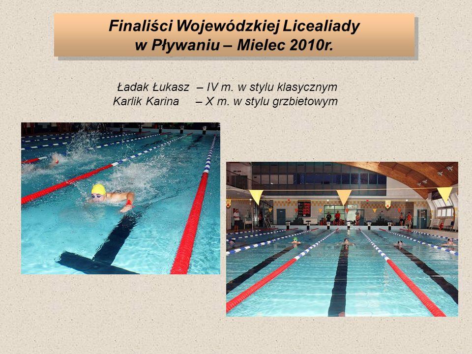 Finaliści Wojewódzkiej Licealiady w Pływaniu – Mielec 2010r.