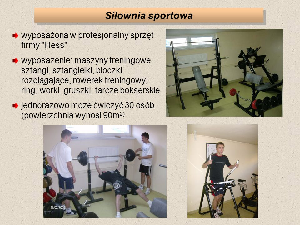 Siłownia sportowa wyposażona w profesjonalny sprzęt firmy Hess