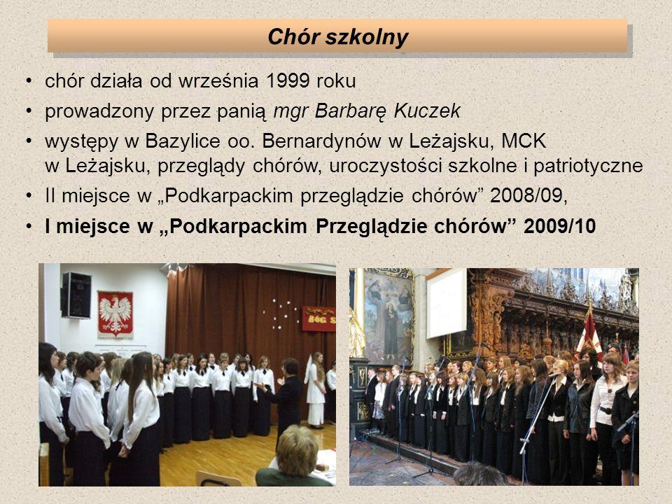 Chór szkolny chór działa od września 1999 roku