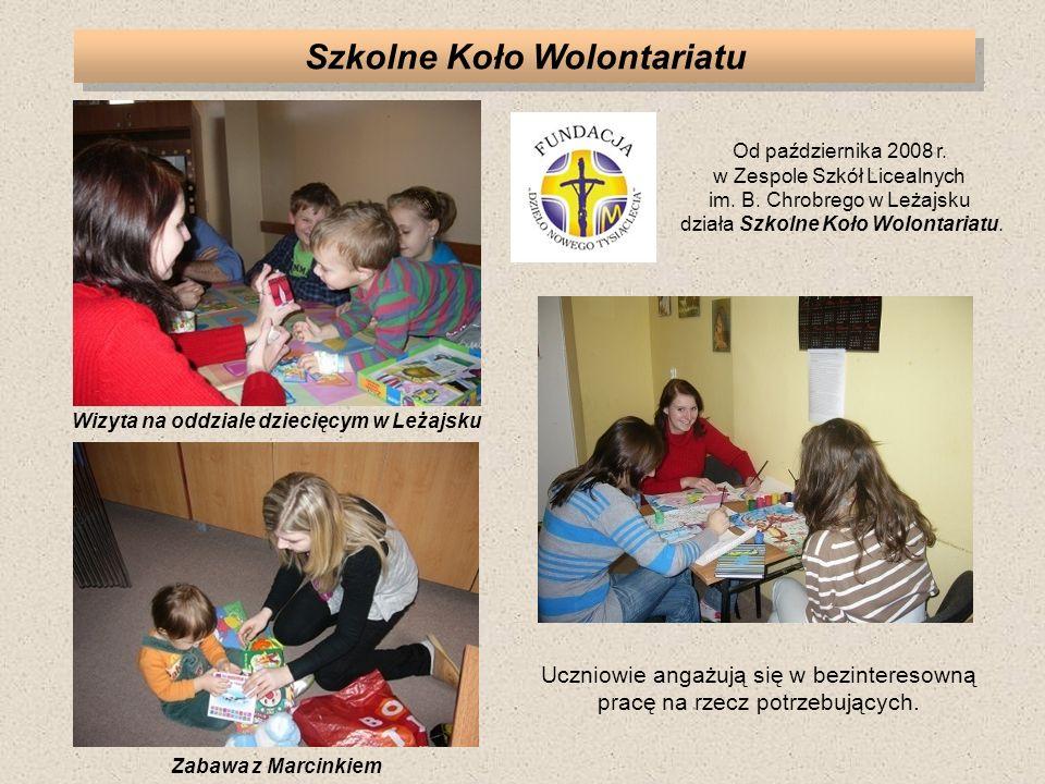 Szkolne Koło Wolontariatu Wizyta na oddziale dziecięcym w Leżajsku