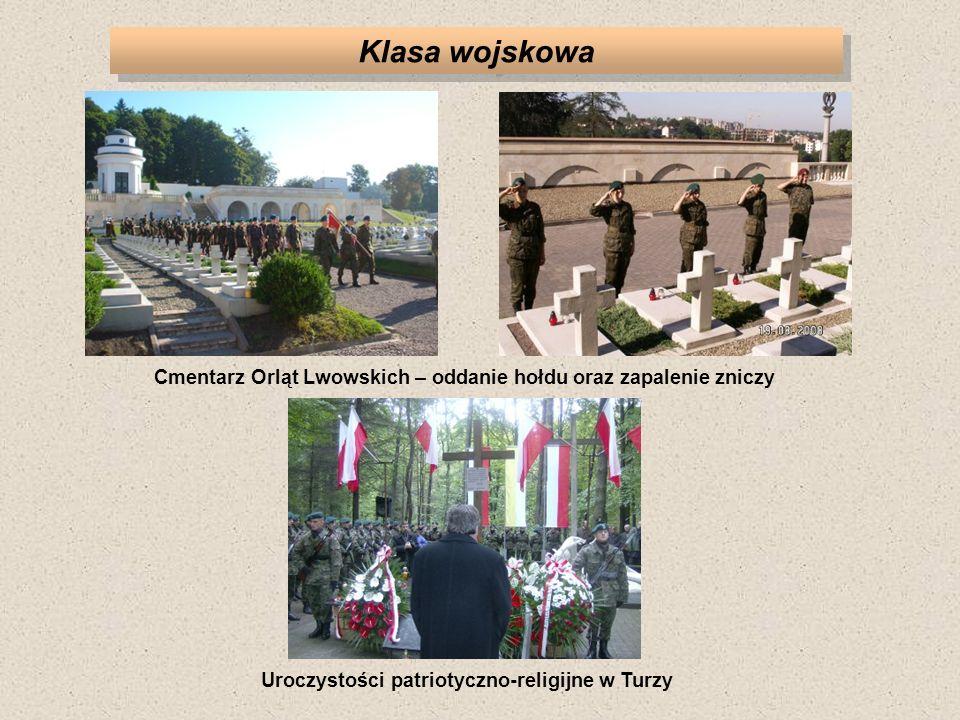 Klasa wojskowa Cmentarz Orląt Lwowskich – oddanie hołdu oraz zapalenie zniczy.
