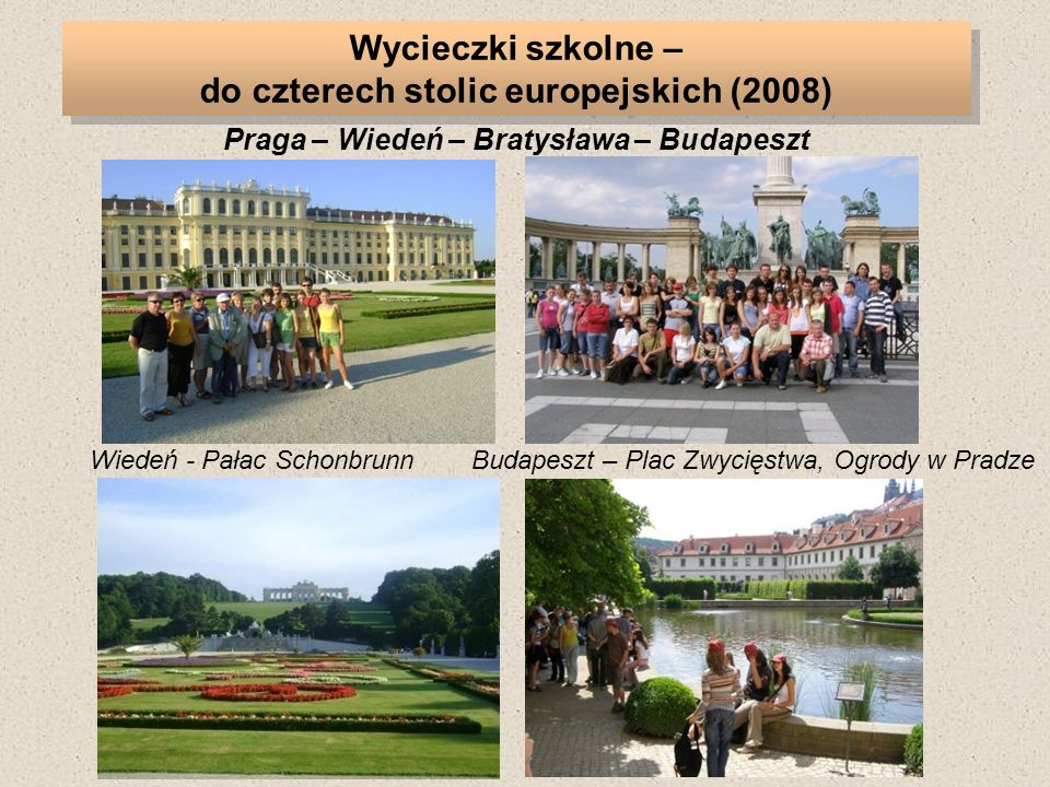 Wycieczki szkolne – do czterech stolic europejskich (2008)