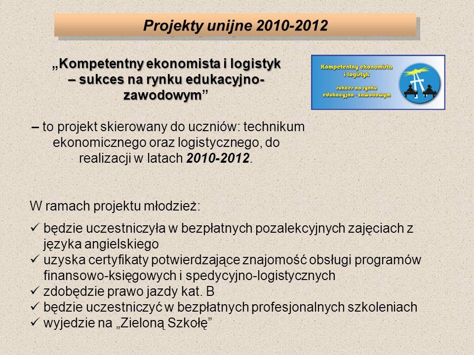"""Projekty unijne 2010-2012 """"Kompetentny ekonomista i logistyk – sukces na rynku edukacyjno-zawodowym"""