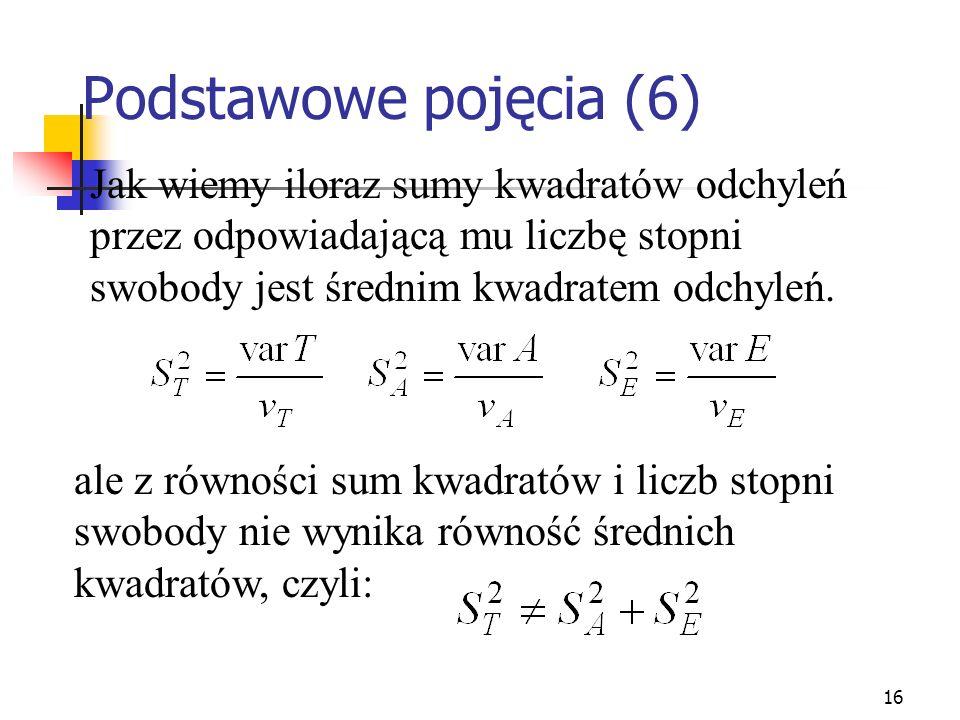 Podstawowe pojęcia (6) Jak wiemy iloraz sumy kwadratów odchyleń przez odpowiadającą mu liczbę stopni swobody jest średnim kwadratem odchyleń.