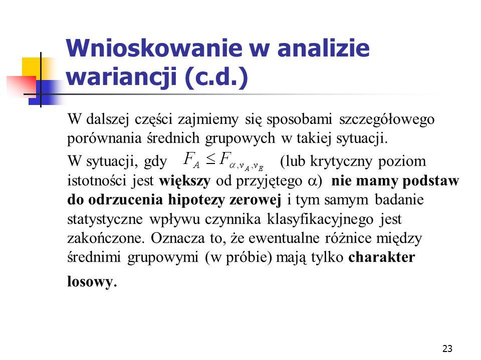 Wnioskowanie w analizie wariancji (c.d.)