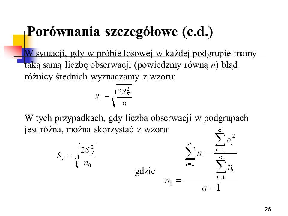 Porównania szczegółowe (c.d.)