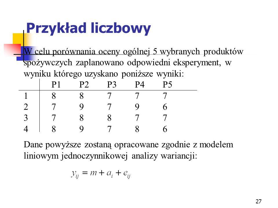 Przykład liczbowy