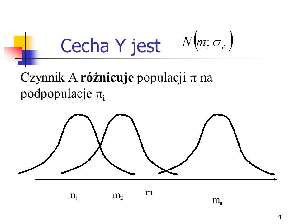Cecha Y jest Czynnik A różnicuje populacji  na podpopulacje i m m1