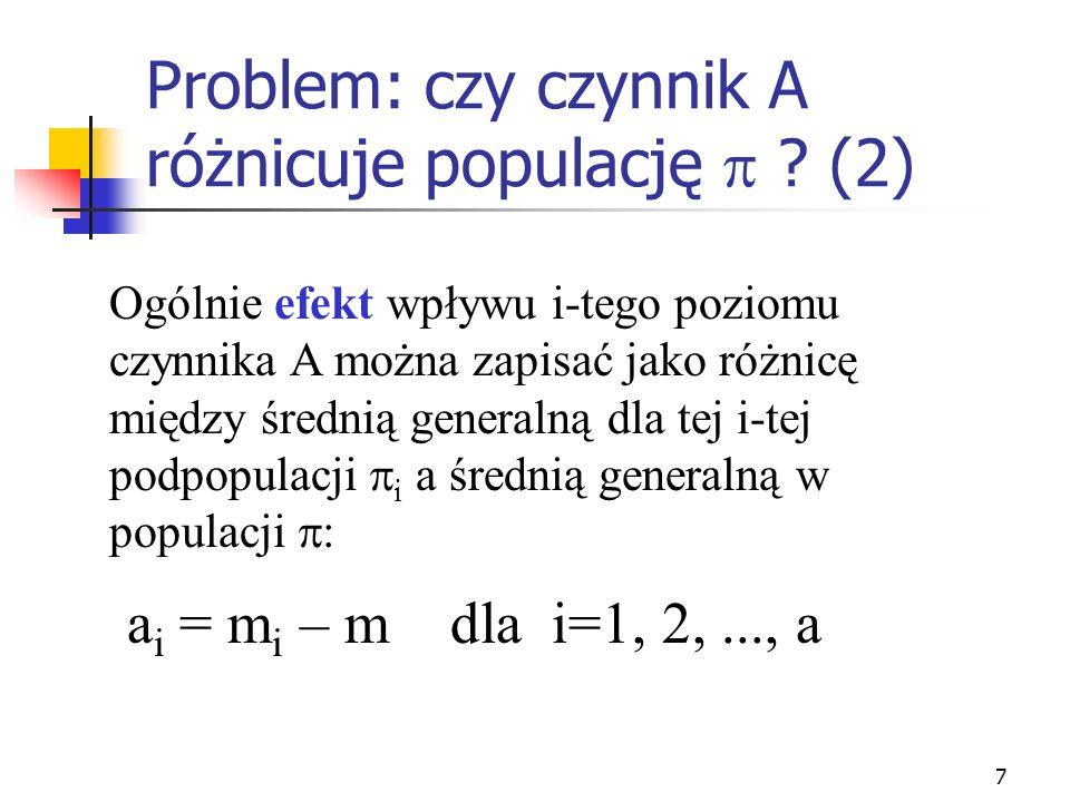 Problem: czy czynnik A różnicuje populację  (2)