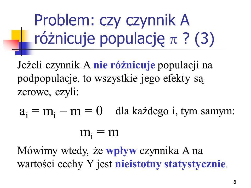 Problem: czy czynnik A różnicuje populację  (3)