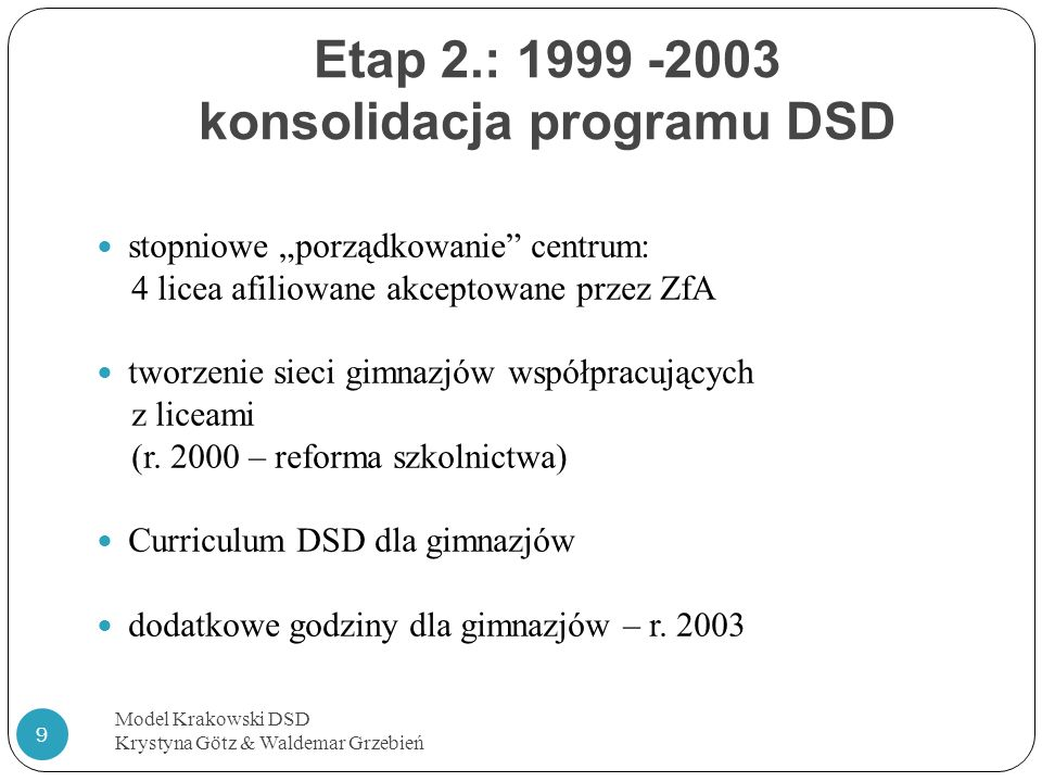 Etap 2.: 1999 -2003 konsolidacja programu DSD