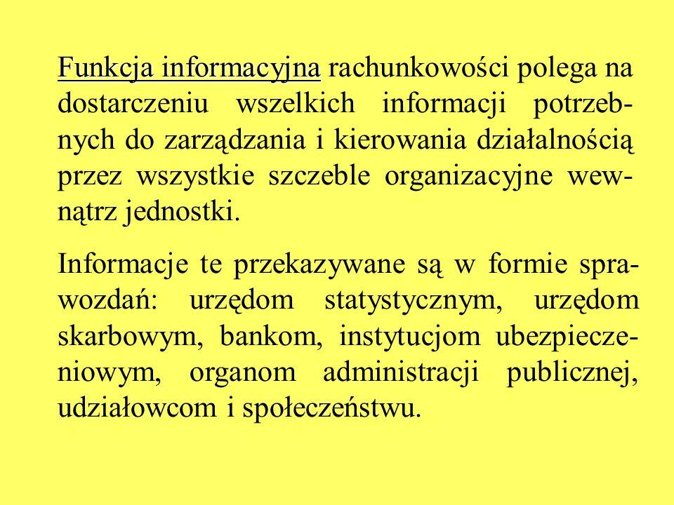 Funkcja informacyjna rachunkowości polega na dostarczeniu wszelkich informacji potrzeb-nych do zarządzania i kierowania działalnością przez wszystkie szczeble organizacyjne wew-nątrz jednostki.