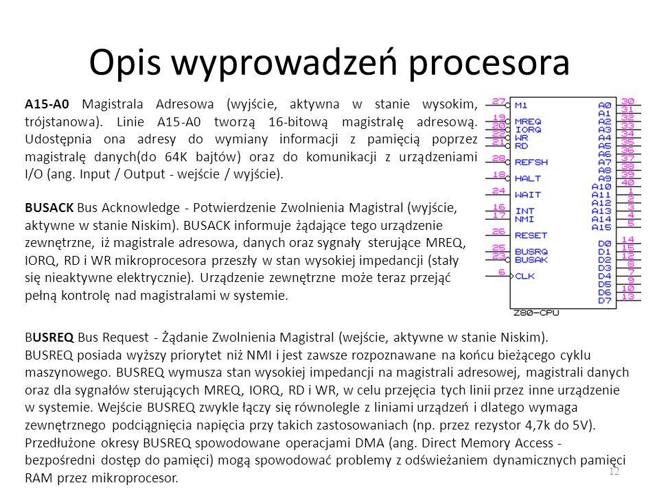 Opis wyprowadzeń procesora