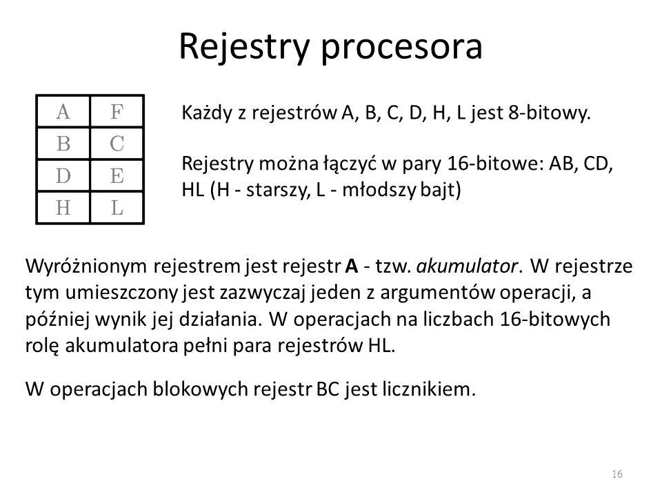 Rejestry procesora Każdy z rejestrów A, B, C, D, H, L jest 8-bitowy.