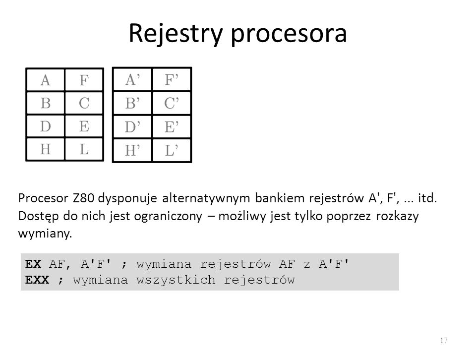 Rejestry procesora Procesor Z80 dysponuje alternatywnym bankiem rejestrów A , F , ... itd.