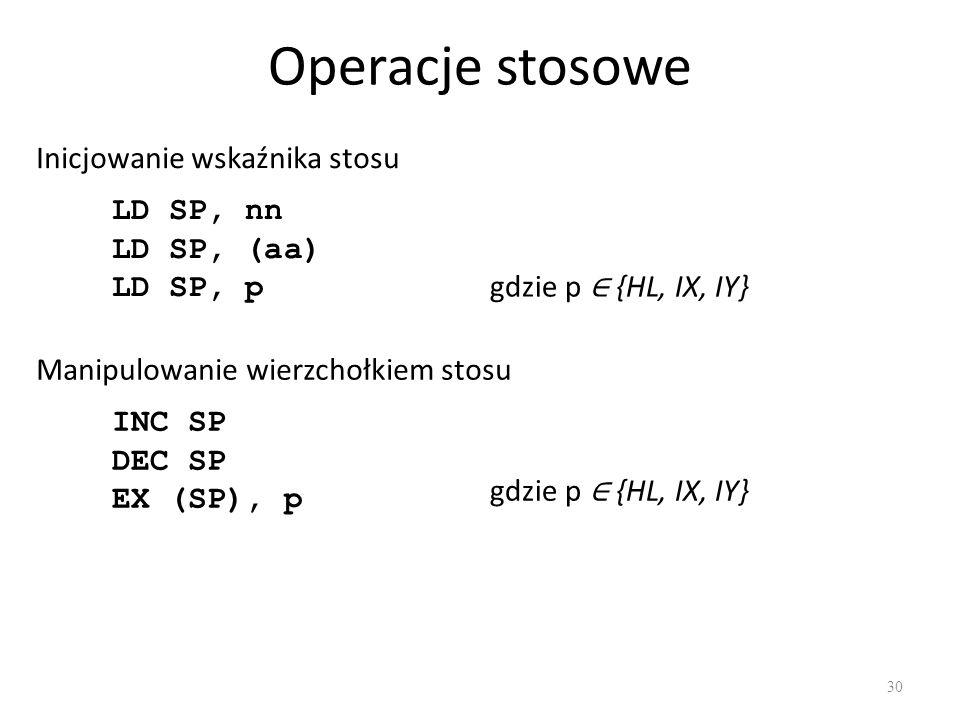 Operacje stosowe Inicjowanie wskaźnika stosu LD SP, nn LD SP, (aa)