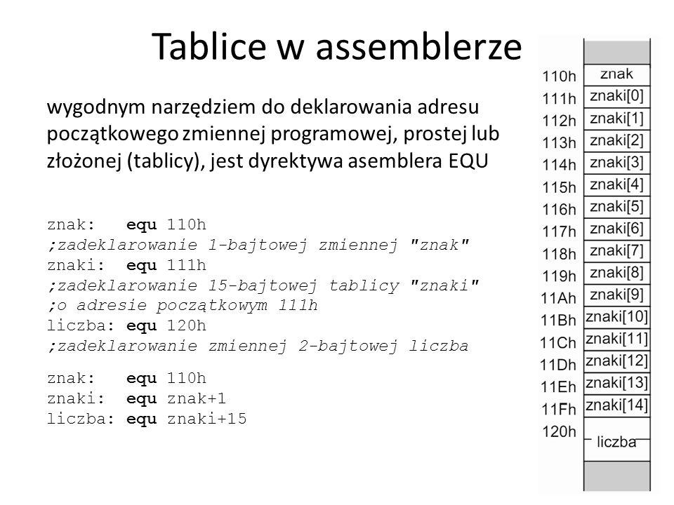 Tablice w assemblerze
