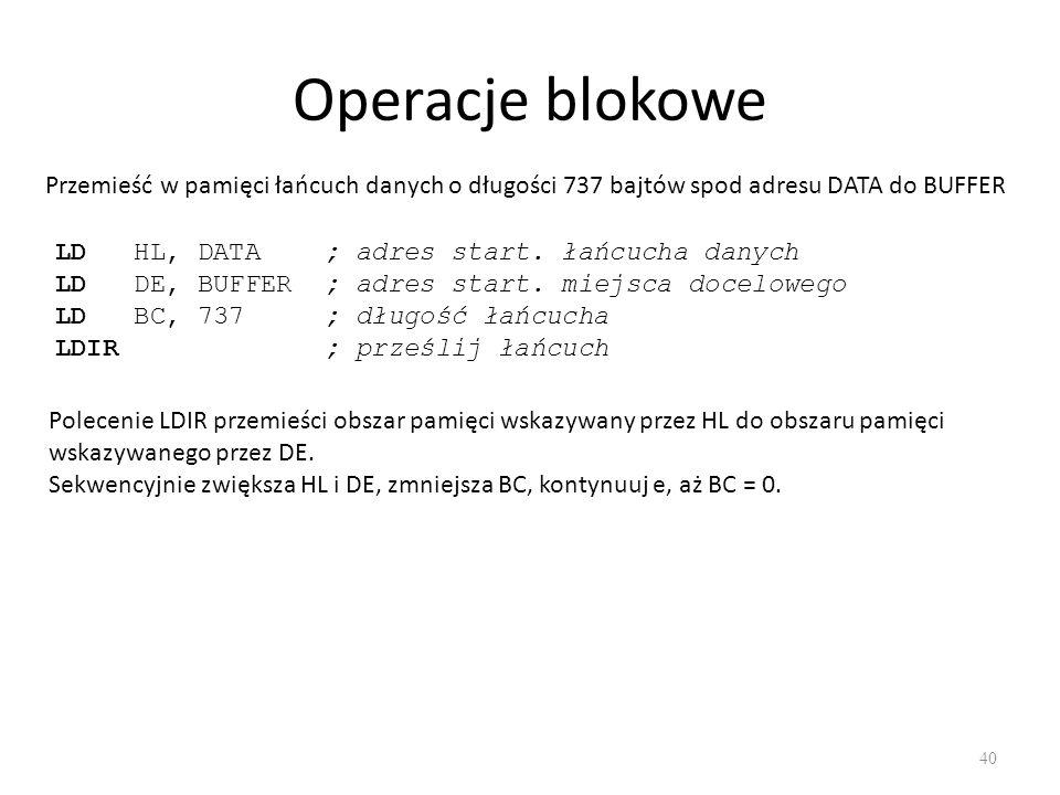 Operacje blokowe Przemieść w pamięci łańcuch danych o długości 737 bajtów spod adresu DATA do BUFFER.
