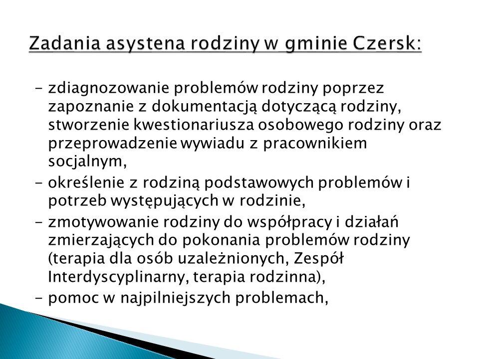 Zadania asystena rodziny w gminie Czersk: