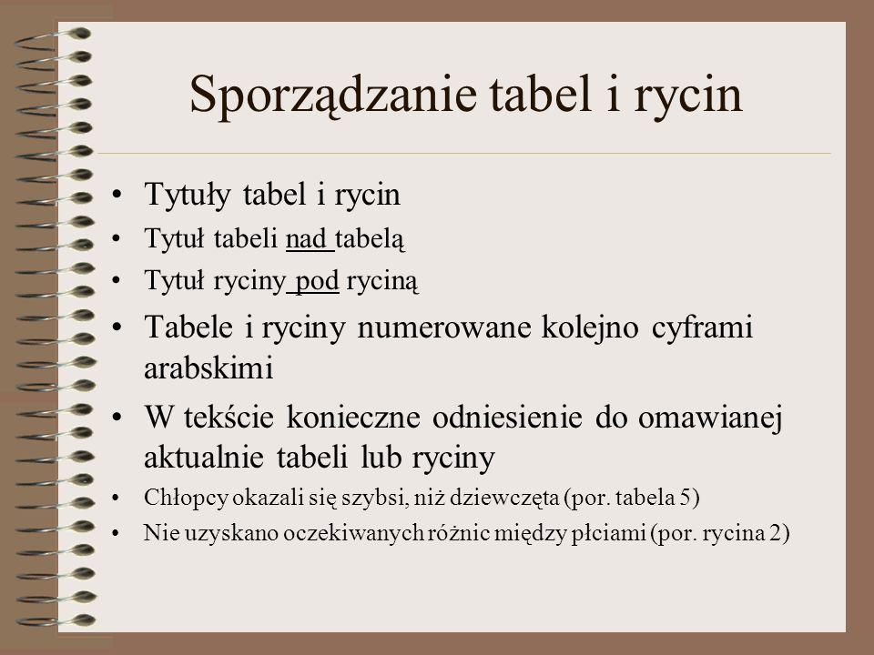 Sporządzanie tabel i rycin