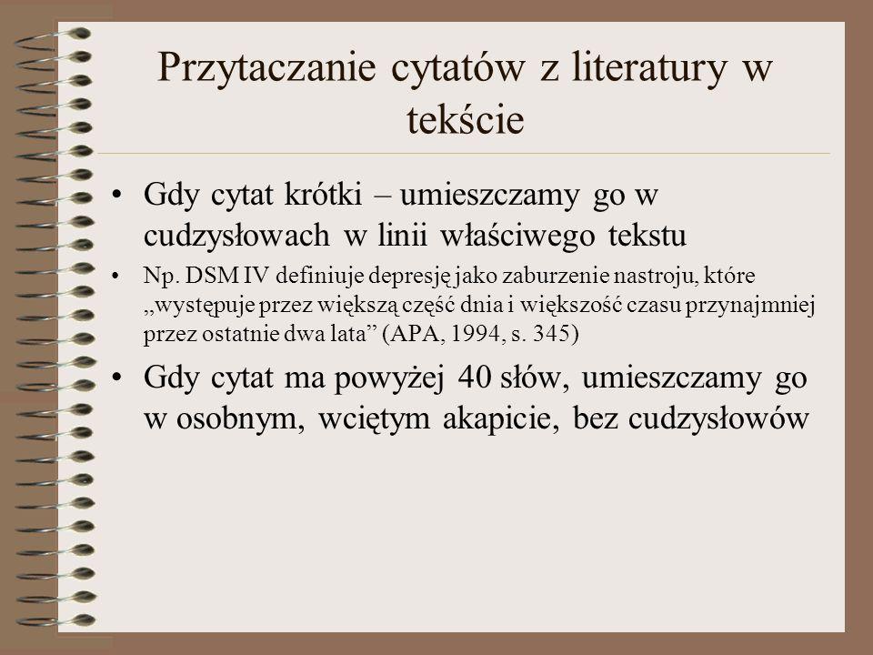 Przytaczanie cytatów z literatury w tekście