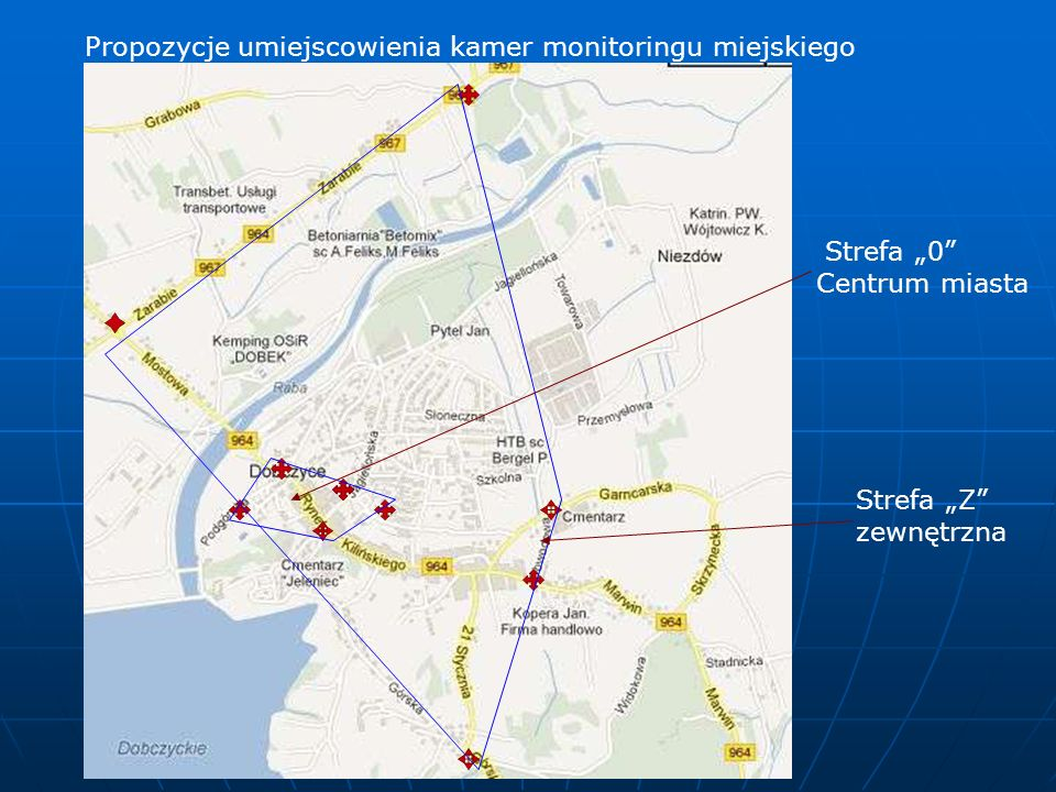 Propozycje umiejscowienia kamer monitoringu miejskiego