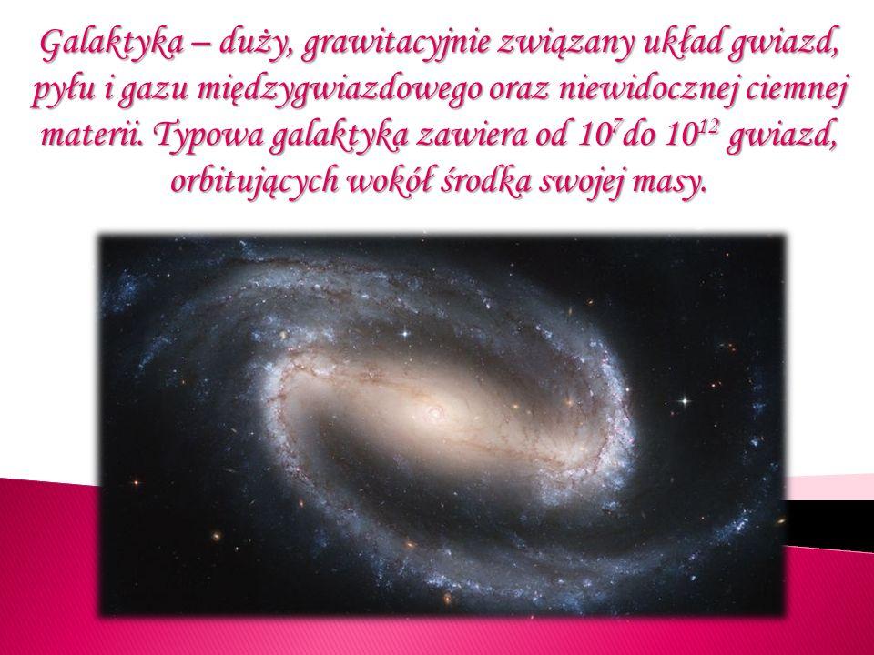 Galaktyka – duży, grawitacyjnie związany układ gwiazd, pyłu i gazu międzygwiazdowego oraz niewidocznej ciemnej materii.