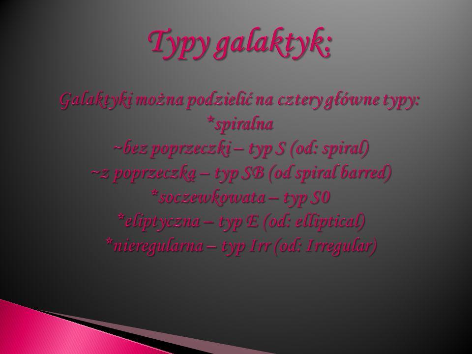 Typy galaktyk: Galaktyki można podzielić na cztery główne typy: