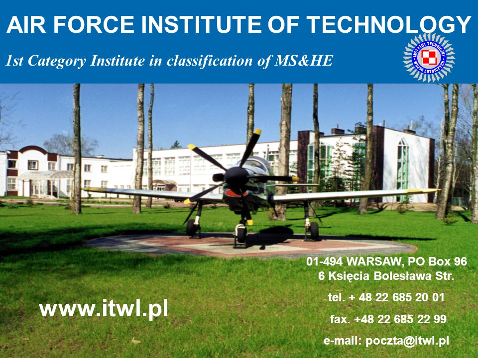 www.itwl.pl AIR FORCE INSTITUTE OF TECHNOLOGY