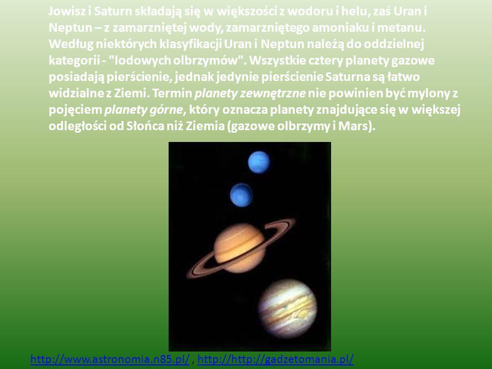 Jowisz i Saturn składają się w większości z wodoru i helu, zaś Uran i Neptun – z zamarzniętej wody, zamarzniętego amoniaku i metanu. Według niektórych klasyfikacji Uran i Neptun należą do oddzielnej kategorii - lodowych olbrzymów . Wszystkie cztery planety gazowe posiadają pierścienie, jednak jedynie pierścienie Saturna są łatwo widzialne z Ziemi. Termin planety zewnętrzne nie powinien być mylony z pojęciem planety górne, który oznacza planety znajdujące się w większej odległości od Słońca niż Ziemia (gazowe olbrzymy i Mars).