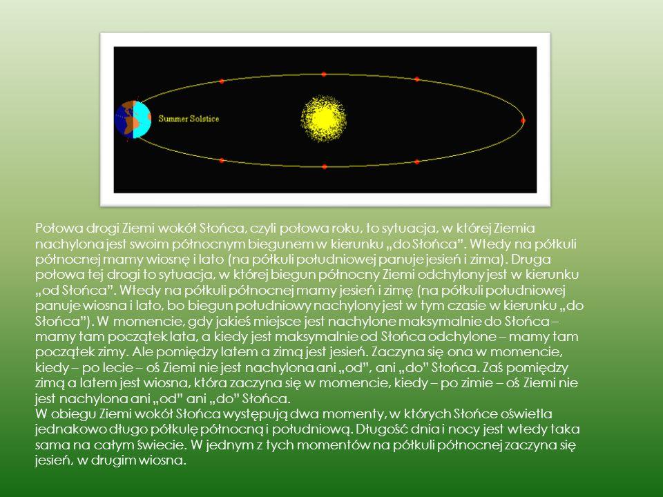 """Połowa drogi Ziemi wokół Słońca, czyli połowa roku, to sytuacja, w której Ziemia nachylona jest swoim północnym biegunem w kierunku """"do Słońca . Wtedy na półkuli północnej mamy wiosnę i lato (na półkuli południowej panuje jesień i zima). Druga połowa tej drogi to sytuacja, w której biegun północny Ziemi odchylony jest w kierunku """"od Słońca . Wtedy na półkuli północnej mamy jesień i zimę (na półkuli południowej panuje wiosna i lato, bo biegun południowy nachylony jest w tym czasie w kierunku """"do Słońca ). W momencie, gdy jakieś miejsce jest nachylone maksymalnie do Słońca – mamy tam początek lata, a kiedy jest maksymalnie od Słońca odchylone – mamy tam początek zimy. Ale pomiędzy latem a zimą jest jesień. Zaczyna się ona w momencie, kiedy – po lecie – oś Ziemi nie jest nachylona ani """"od , ani """"do Słońca. Zaś pomiędzy zimą a latem jest wiosna, która zaczyna się w momencie, kiedy – po zimie – oś Ziemi nie jest nachylona ani """"od ani """"do Słońca."""