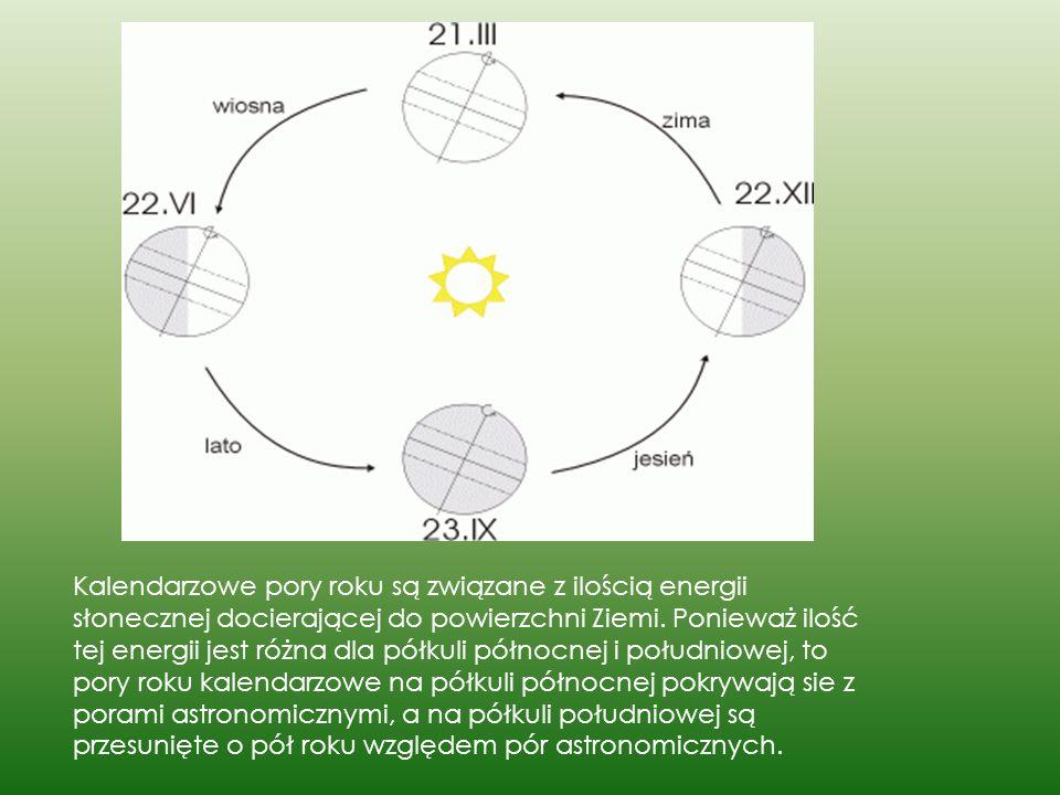 Kalendarzowe pory roku są związane z ilością energii słonecznej docierającej do powierzchni Ziemi.