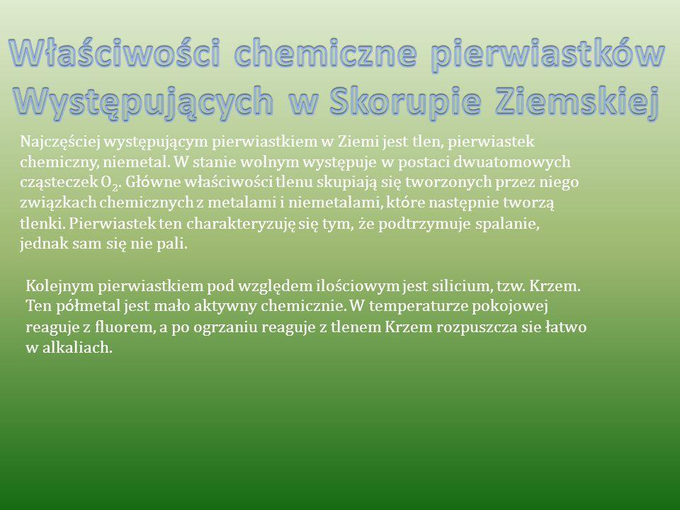 Właściwości chemiczne pierwiastków Występujących w Skorupie Ziemskiej
