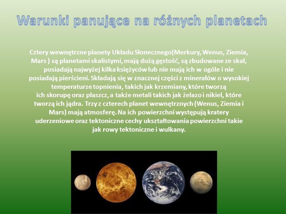 Warunki panujące na różnych planetach