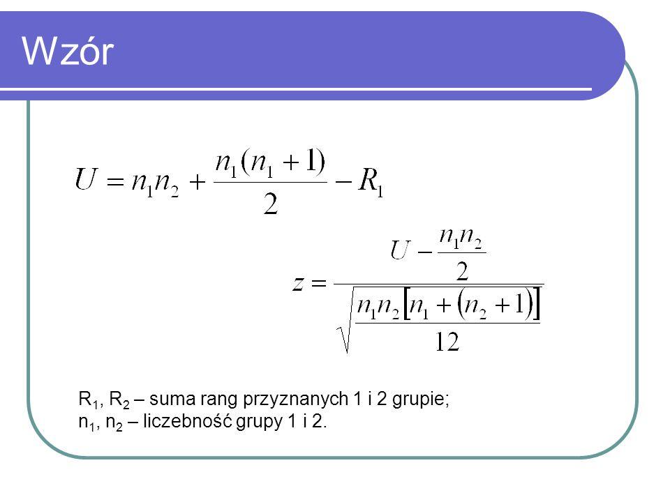 Wzór R1, R2 – suma rang przyznanych 1 i 2 grupie;
