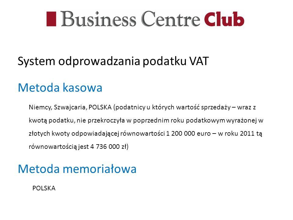 System odprowadzania podatku VAT Metoda kasowa