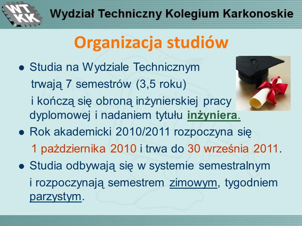 Organizacja studiów Studia na Wydziale Technicznym