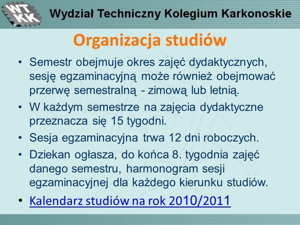 Organizacja studiów Kalendarz studiów na rok 2010/2011