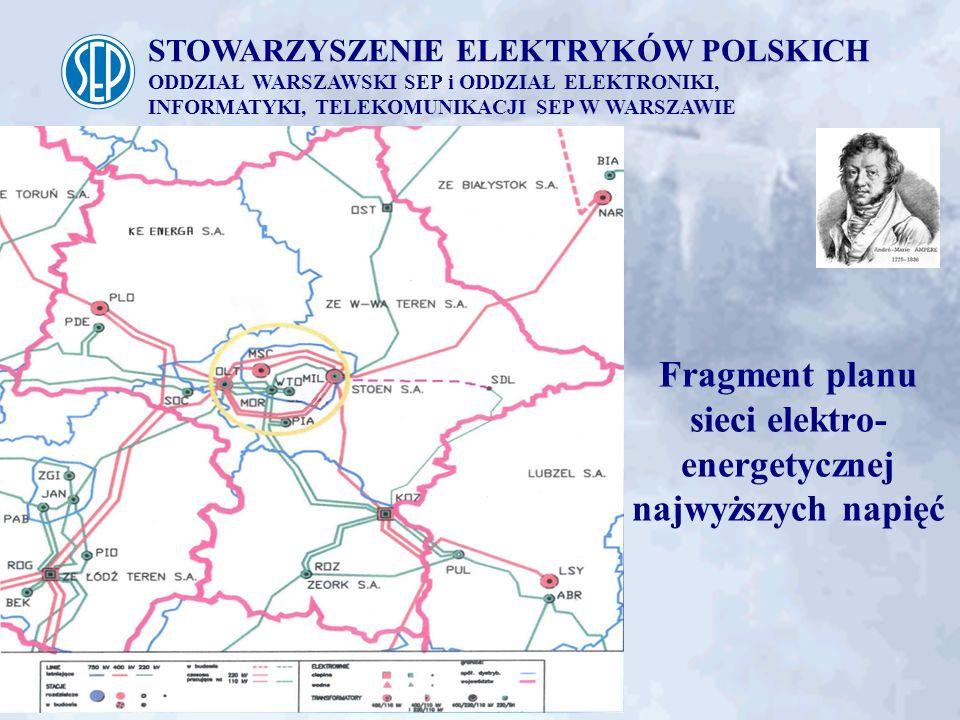 Fragment planu sieci elektro-energetycznej najwyższych napięć