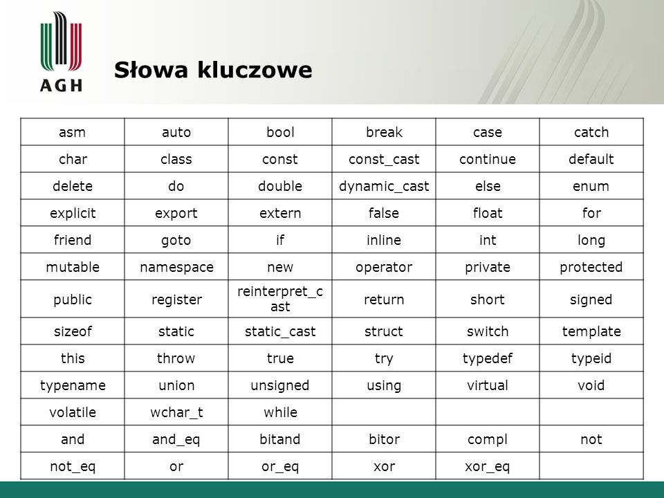 Słowa kluczowe asm auto bool break case catch char class const