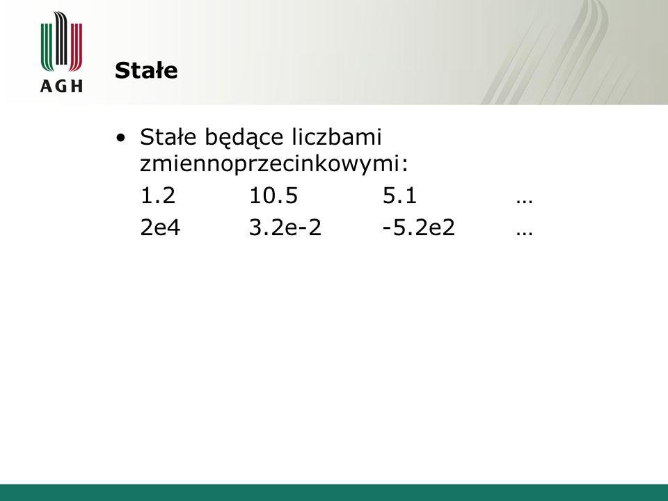 Stałe Stałe będące liczbami zmiennoprzecinkowymi: 1.2 10.5 5.1 … 2e4 3.2e-2 -5.2e2 …