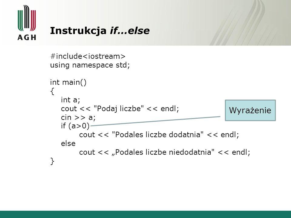 Instrukcja if…else Wyrażenie #include<iostream>