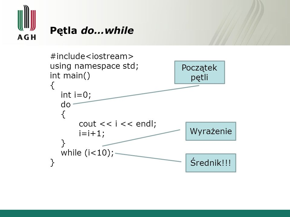 Pętla do…while #include<iostream> using namespace std;