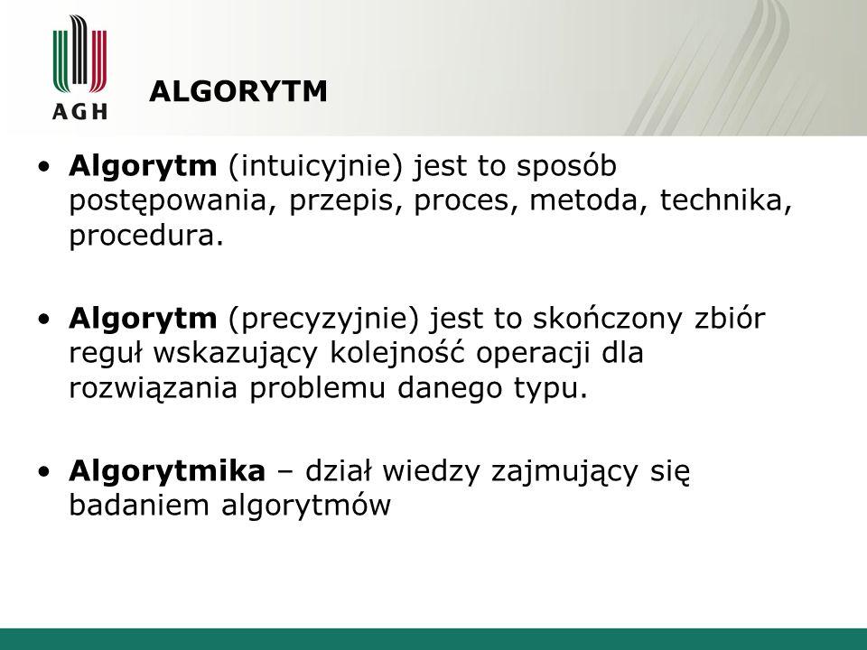 ALGORYTM Algorytm (intuicyjnie) jest to sposób postępowania, przepis, proces, metoda, technika, procedura.