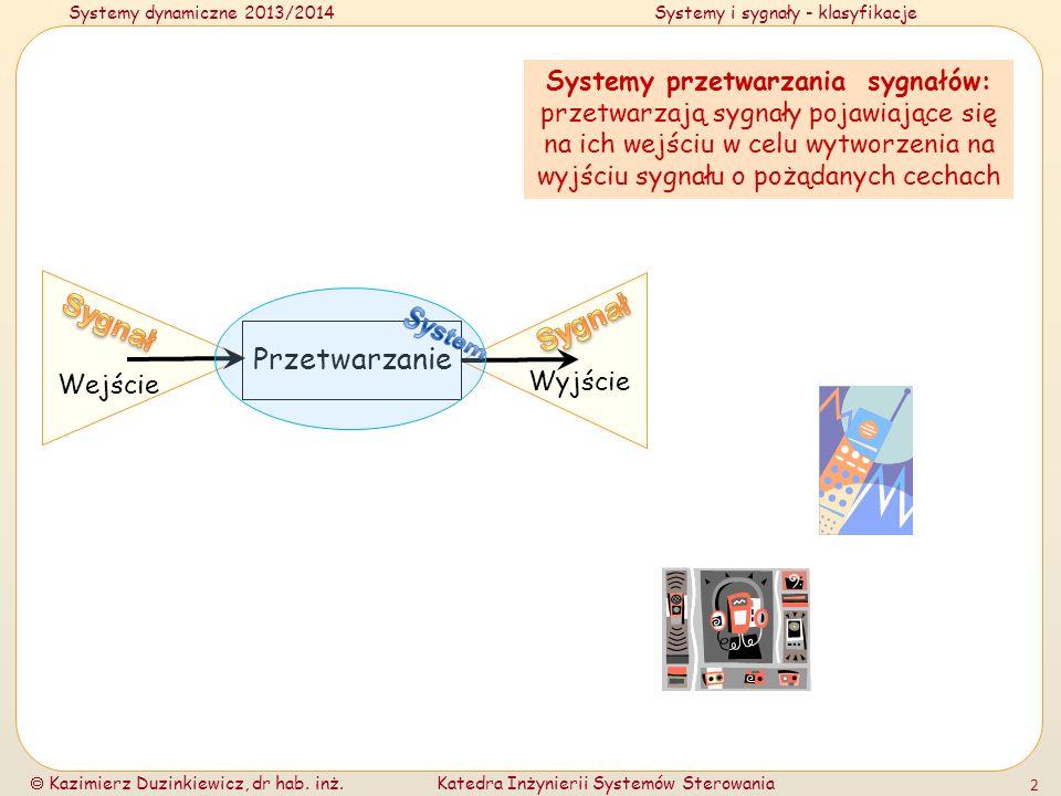System Sygnał Sygnał Przetwarzanie